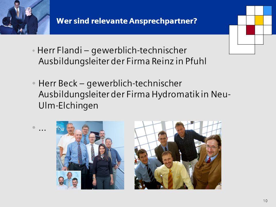 10 Wer sind relevante Ansprechpartner? Herr Flandi – gewerblich-technischer Ausbildungsleiter der Firma Reinz in Pfuhl Herr Beck – gewerblich-technisc