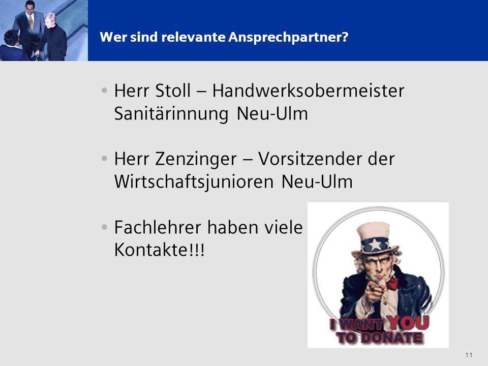 11 Wer sind relevante Ansprechpartner? Herr Stoll – Handwerksobermeister Sanitärinnung Neu-Ulm Herr Zenzinger – Vorsitzender der Wirtschaftsjunioren N