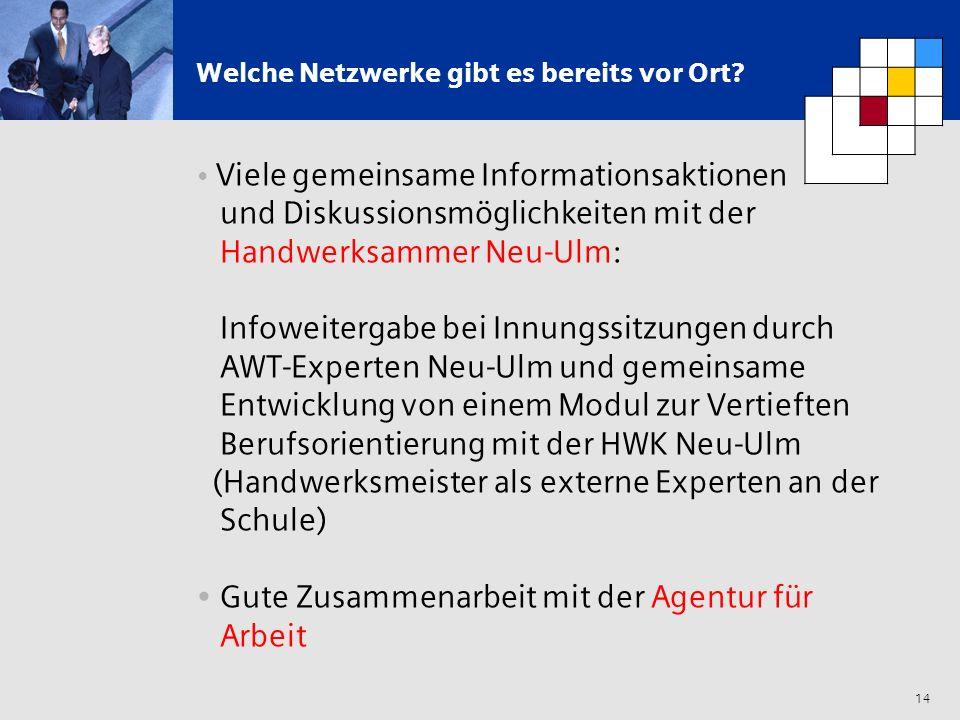 14 Welche Netzwerke gibt es bereits vor Ort? Viele gemeinsame Informationsaktionen und Diskussionsmöglichkeiten mit der Handwerksammer Neu-Ulm: Infowe