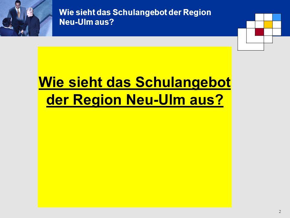 2 Wie sieht das Schulangebot der Region Neu-Ulm aus? Wie sieht das Schulangebot der Region Neu-Ulm aus?