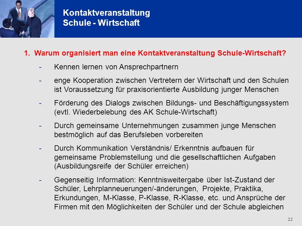23 Kontaktveranstaltung Schule - Wirtschaft 2.