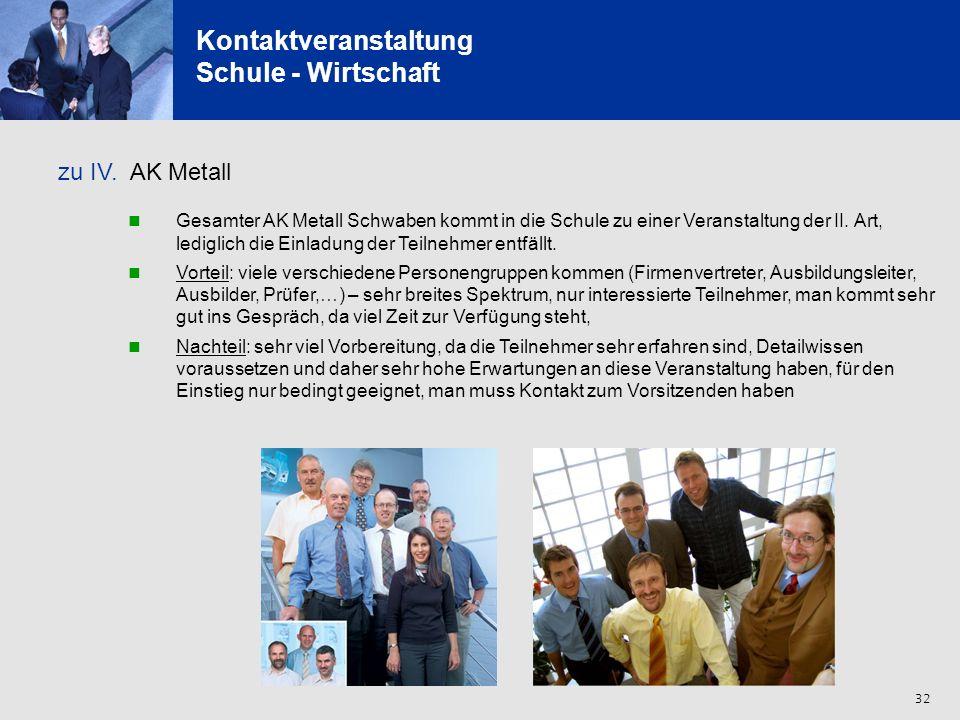 32 Kontaktveranstaltung Schule - Wirtschaft zu IV. AK Metall Gesamter AK Metall Schwaben kommt in die Schule zu einer Veranstaltung der II. Art, ledig