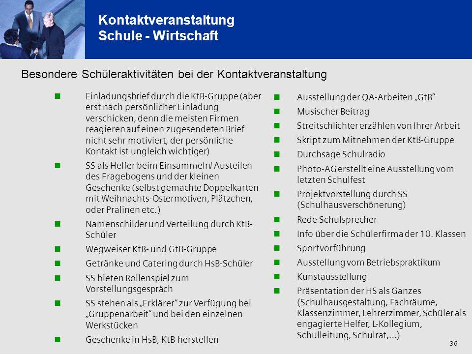 36 Kontaktveranstaltung Schule - Wirtschaft Einladungsbrief durch die KtB-Gruppe (aber erst nach persönlicher Einladung verschicken, denn die meisten