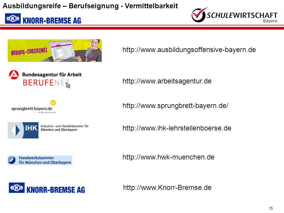 15 Ausbildungsreife – Berufseignung - Vermittelbarkeit http://www.hwk-muenchen.de http://www.ihk-lehrstellenboerse.de http://www.sprungbrett-bayern.de