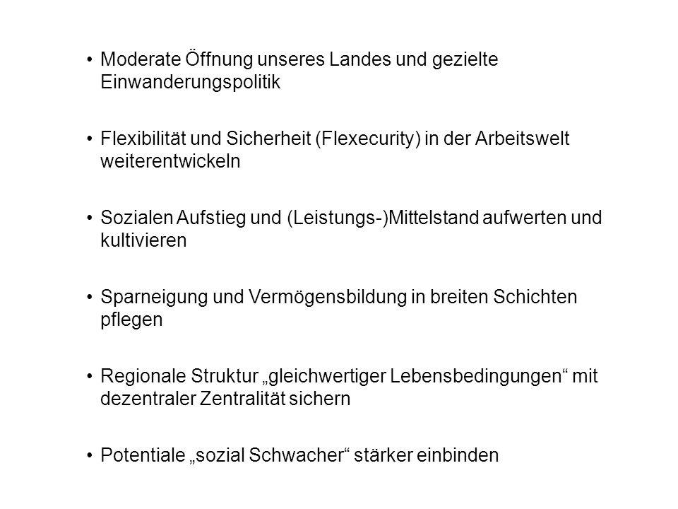 Moderate Öffnung unseres Landes und gezielte Einwanderungspolitik Flexibilität und Sicherheit (Flexecurity) in der Arbeitswelt weiterentwickeln Sozial
