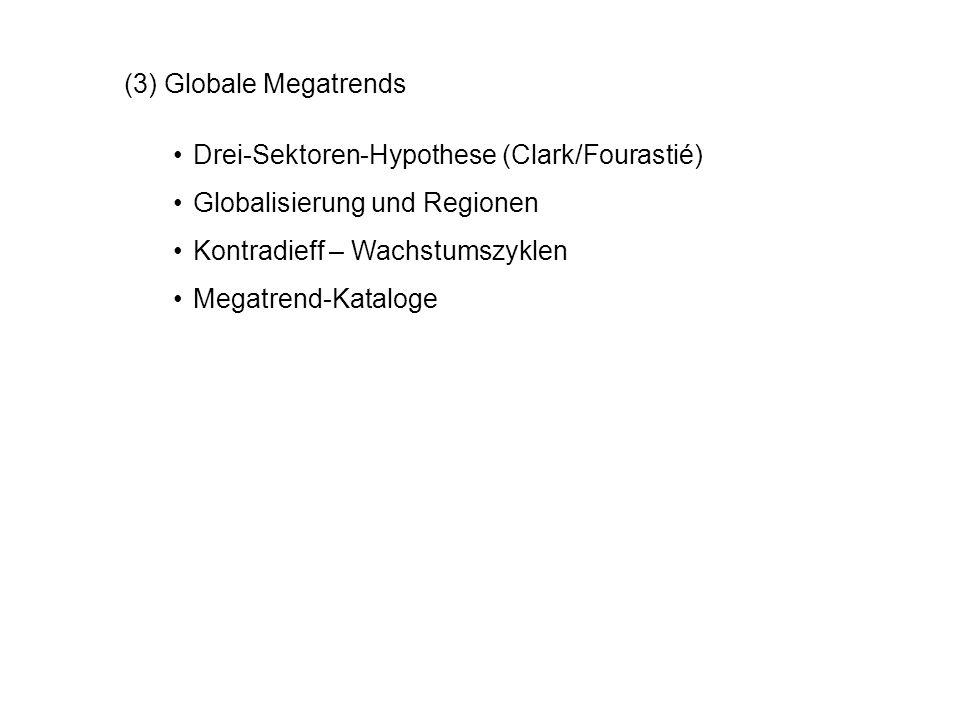 (3) Globale Megatrends Drei-Sektoren-Hypothese (Clark/Fourastié) Globalisierung und Regionen Kontradieff – Wachstumszyklen Megatrend-Kataloge