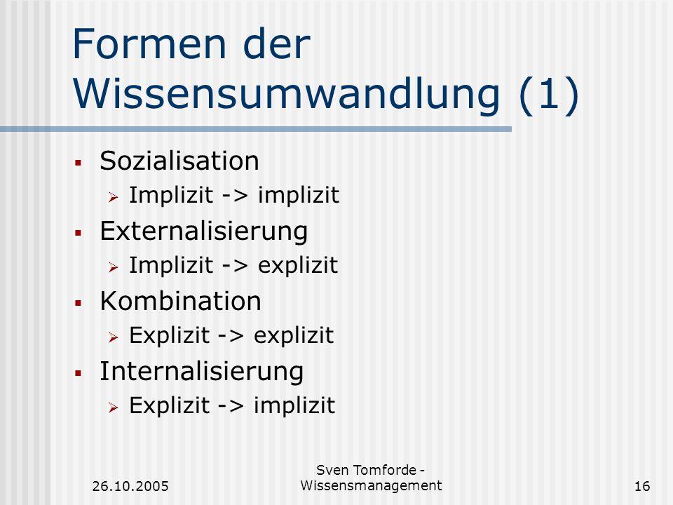 26.10.2005 Sven Tomforde - Wissensmanagement16 Formen der Wissensumwandlung (1) Sozialisation Implizit -> implizit Externalisierung Implizit -> expliz