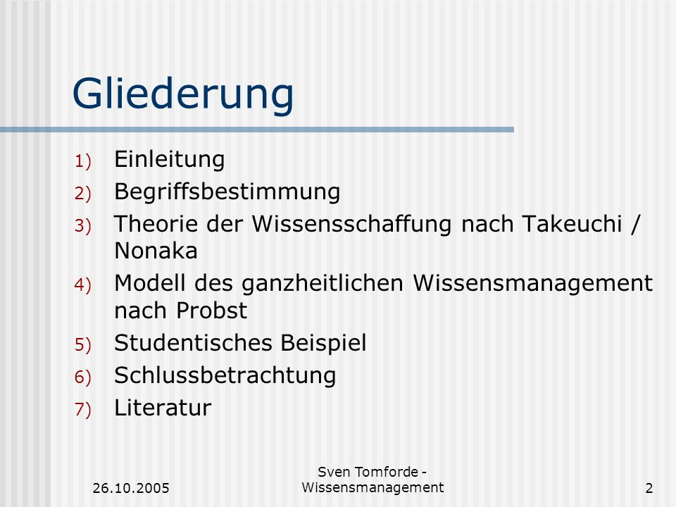 26.10.2005 Sven Tomforde - Wissensmanagement2 Gliederung 1) Einleitung 2) Begriffsbestimmung 3) Theorie der Wissensschaffung nach Takeuchi / Nonaka 4)