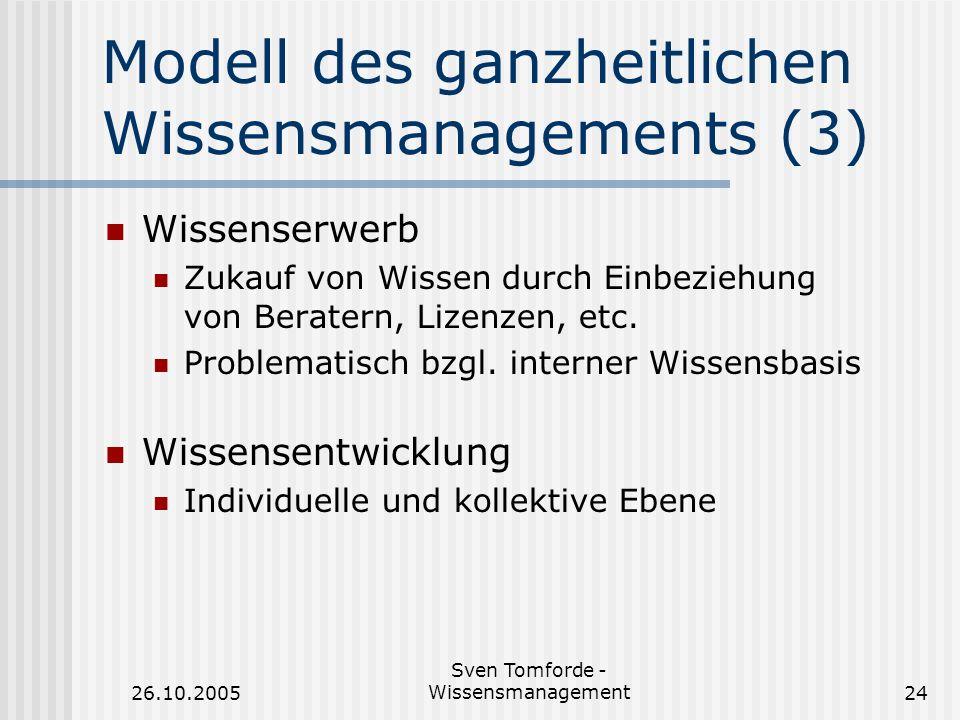 26.10.2005 Sven Tomforde - Wissensmanagement24 Modell des ganzheitlichen Wissensmanagements (3) Wissenserwerb Zukauf von Wissen durch Einbeziehung von