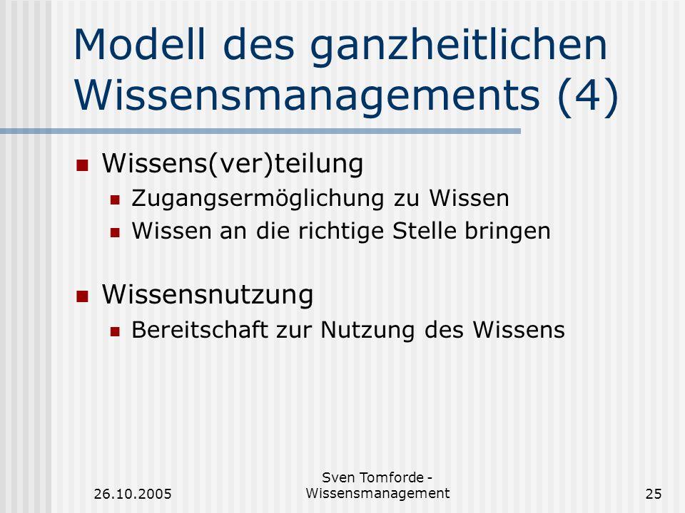 26.10.2005 Sven Tomforde - Wissensmanagement25 Modell des ganzheitlichen Wissensmanagements (4) Wissens(ver)teilung Zugangsermöglichung zu Wissen Wiss