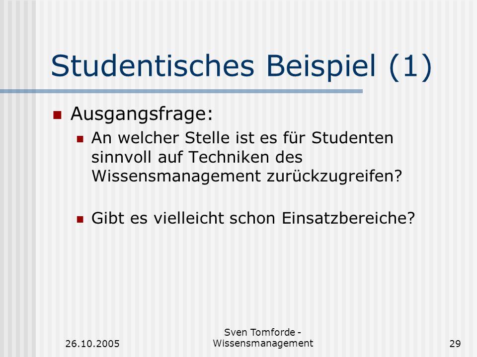 26.10.2005 Sven Tomforde - Wissensmanagement29 Studentisches Beispiel (1) Ausgangsfrage: An welcher Stelle ist es für Studenten sinnvoll auf Techniken