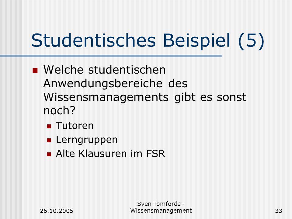 26.10.2005 Sven Tomforde - Wissensmanagement33 Studentisches Beispiel (5) Welche studentischen Anwendungsbereiche des Wissensmanagements gibt es sonst