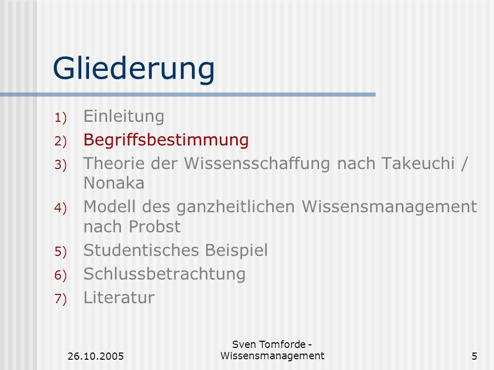 26.10.2005 Sven Tomforde - Wissensmanagement6 Wissen (1) Definition: Wissen...