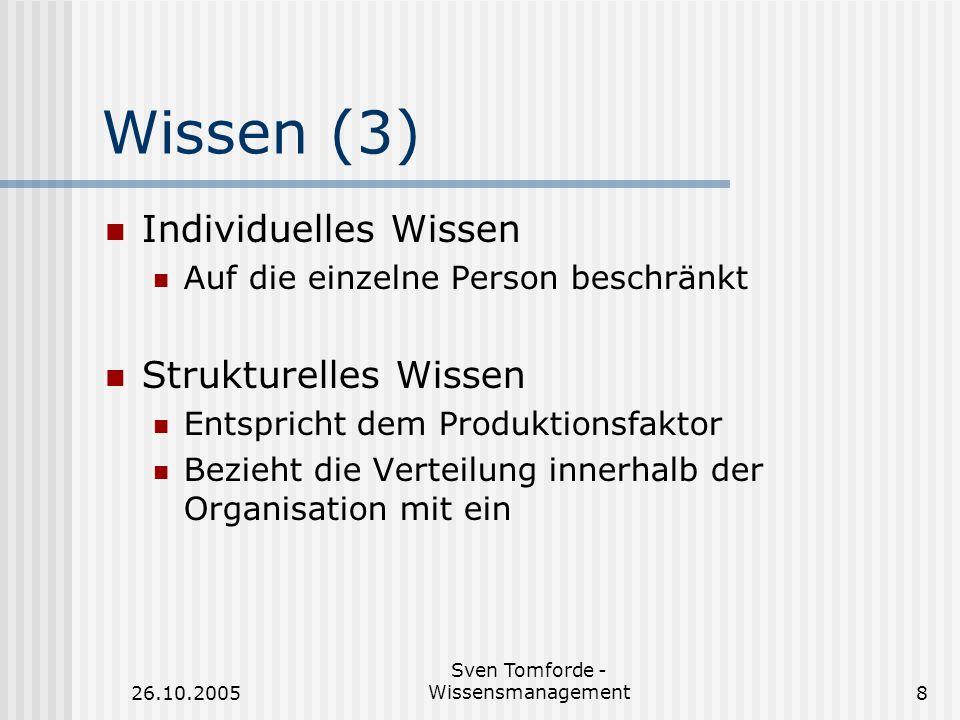 26.10.2005 Sven Tomforde - Wissensmanagement8 Wissen (3) Individuelles Wissen Auf die einzelne Person beschränkt Strukturelles Wissen Entspricht dem P