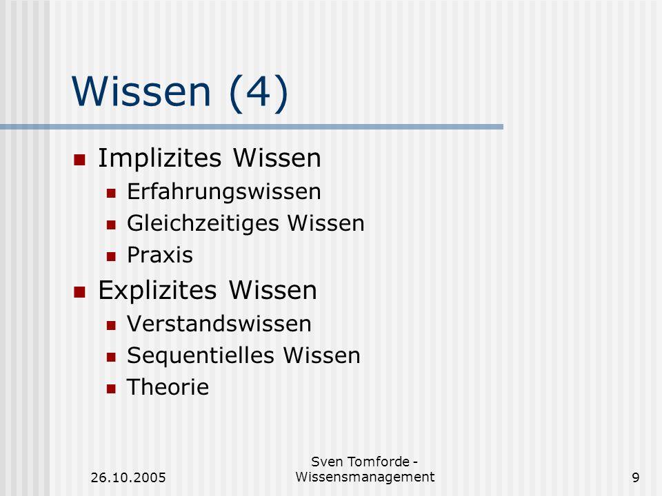 26.10.2005 Sven Tomforde - Wissensmanagement9 Wissen (4) Implizites Wissen Erfahrungswissen Gleichzeitiges Wissen Praxis Explizites Wissen Verstandswi