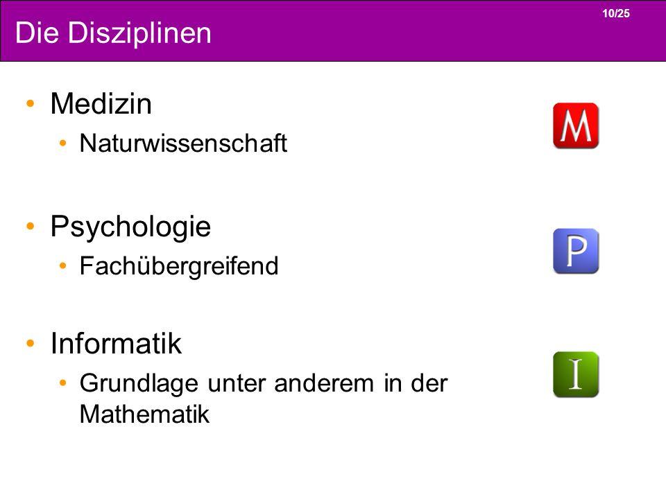 10/25 Die Disziplinen Medizin Naturwissenschaft Psychologie Fachübergreifend Informatik Grundlage unter anderem in der Mathematik