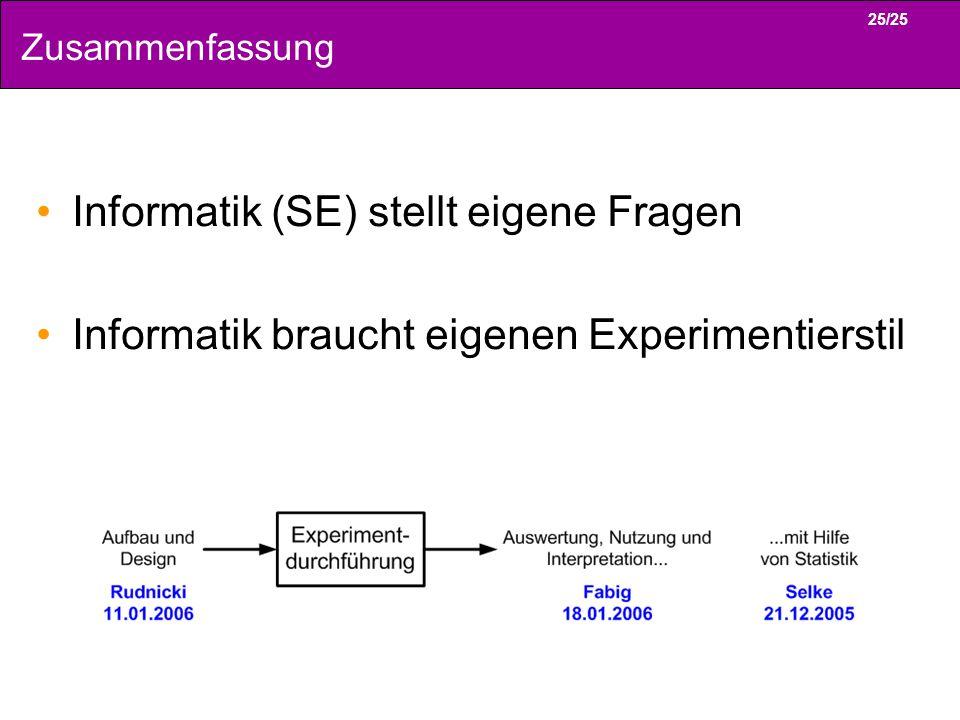 25/25 Zusammenfassung Informatik (SE) stellt eigene Fragen Informatik braucht eigenen Experimentierstil