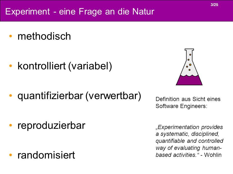 3/25 Experiment - eine Frage an die Natur methodisch kontrolliert (variabel) quantifizierbar (verwertbar) reproduzierbar randomisiert Definition aus S