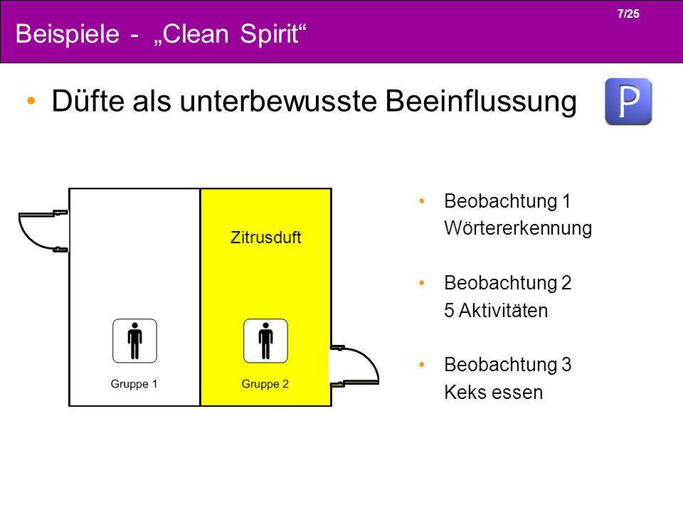 7/25 Beispiele - Clean Spirit Düfte als unterbewusste Beeinflussung Zitrusduft Beobachtung 1 Wörtererkennung Beobachtung 2 5 Aktivitäten Beobachtung 3