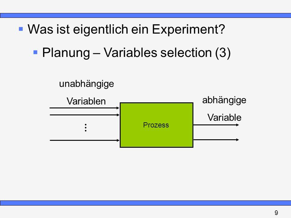 Was ist eigentlich ein Experiment? Planung – Variables selection (3) Prozess unabhängige Variablen abhängige Variable 9