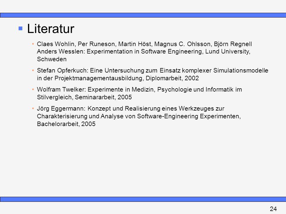 Literatur Claes Wohlin, Per Runeson, Martin Höst, Magnus C. Ohlsson, Björn Regnell Anders Wesslen: Experimentation in Software Engineering, Lund Unive