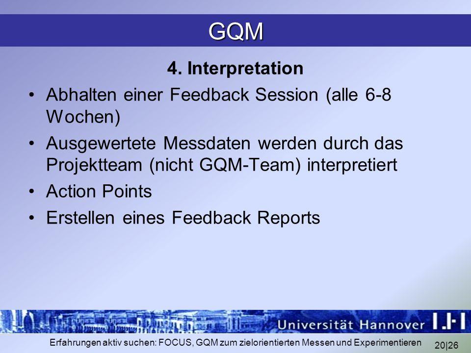20|26 Erfahrungen aktiv suchen: FOCUS, GQM zum zielorientierten Messen und Experimentieren GQM 4. Interpretation Abhalten einer Feedback Session (alle