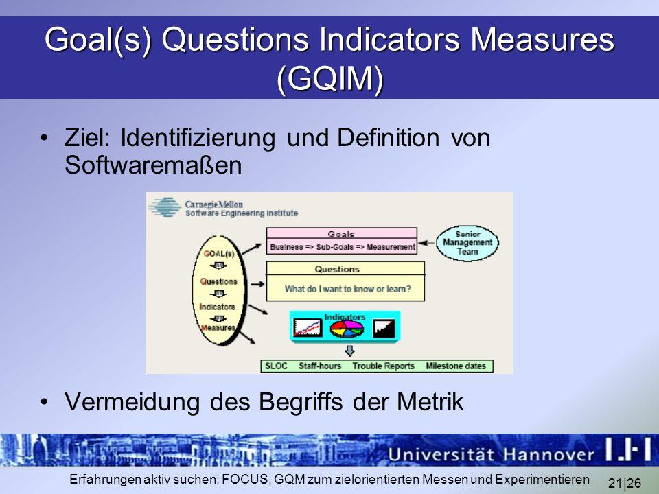 21|26 Erfahrungen aktiv suchen: FOCUS, GQM zum zielorientierten Messen und Experimentieren Goal(s) Questions Indicators Measures (GQIM) Ziel: Identifi