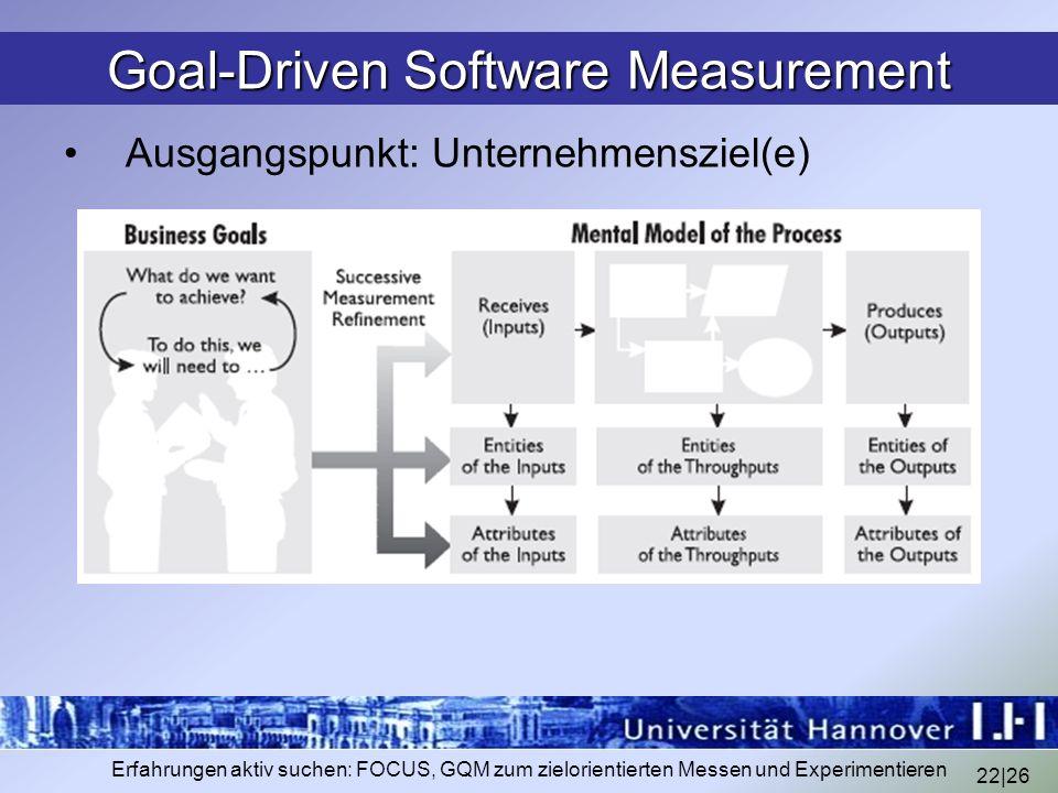 22|26 Erfahrungen aktiv suchen: FOCUS, GQM zum zielorientierten Messen und Experimentieren Goal-Driven Software Measurement Ausgangspunkt: Unternehmen
