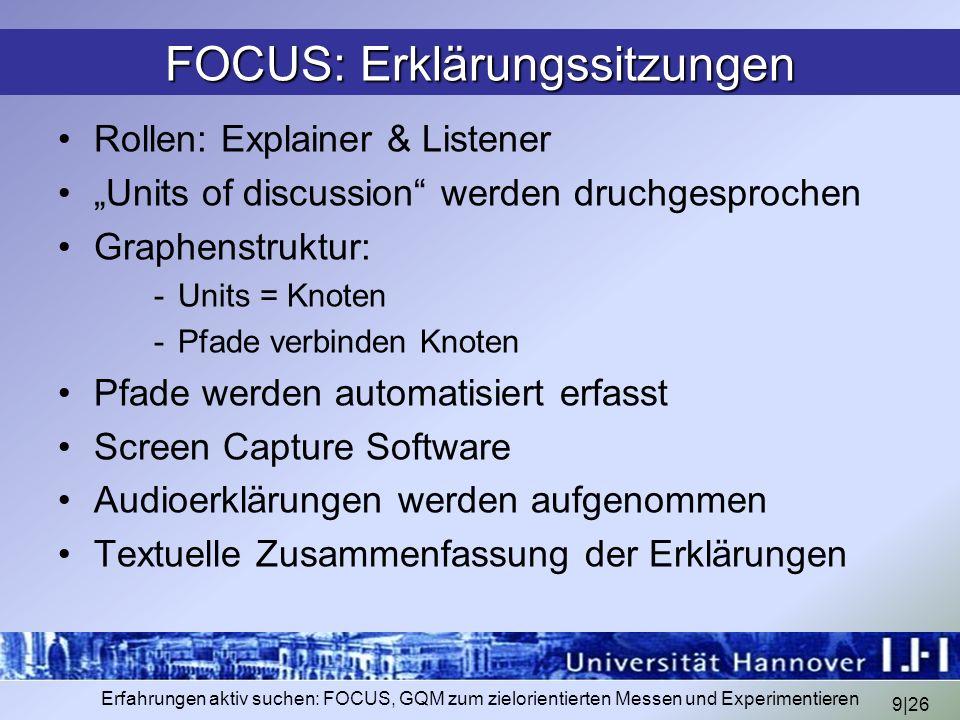 9|26 Erfahrungen aktiv suchen: FOCUS, GQM zum zielorientierten Messen und Experimentieren FOCUS: Erklärungssitzungen Rollen: Explainer & Listener Unit