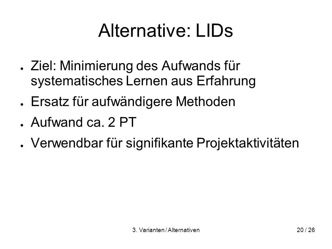 3. Varianten / Alternativen20 / 26 Alternative: LIDs Ziel: Minimierung des Aufwands für systematisches Lernen aus Erfahrung Ersatz für aufwändigere Me