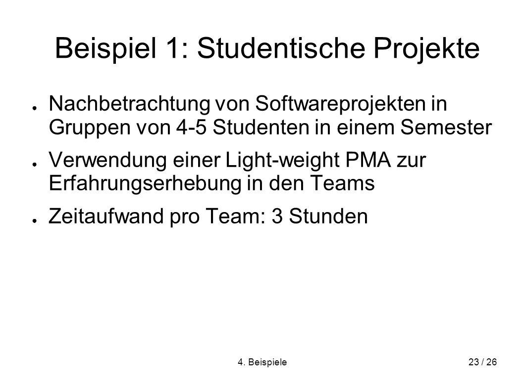 4. Beispiele23 / 26 Beispiel 1: Studentische Projekte Nachbetrachtung von Softwareprojekten in Gruppen von 4-5 Studenten in einem Semester Verwendung