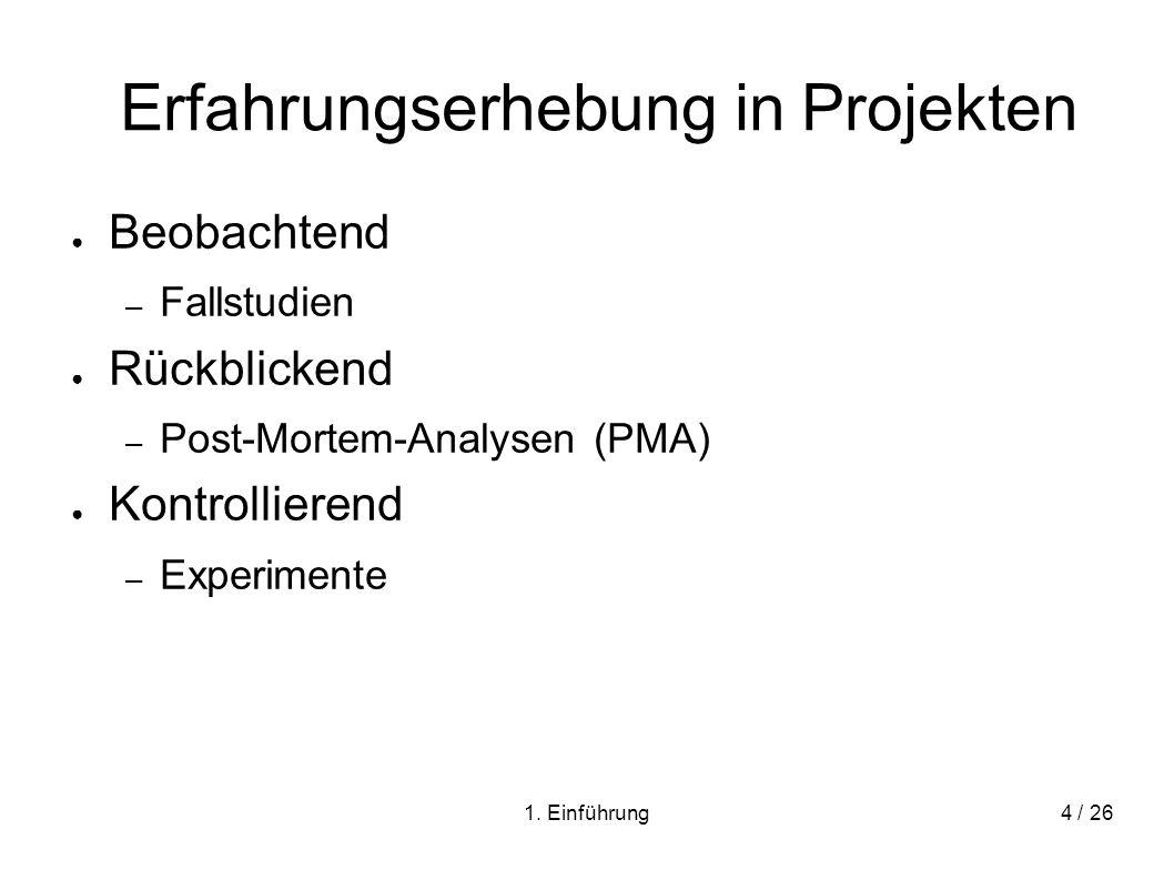 1. Einführung4 / 26 Erfahrungserhebung in Projekten Beobachtend – Fallstudien Rückblickend – Post-Mortem-Analysen (PMA) Kontrollierend – Experimente