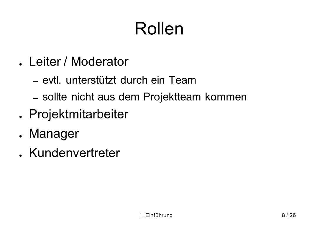 1. Einführung8 / 26 Rollen Leiter / Moderator – evtl. unterstützt durch ein Team – sollte nicht aus dem Projektteam kommen Projektmitarbeiter Manager