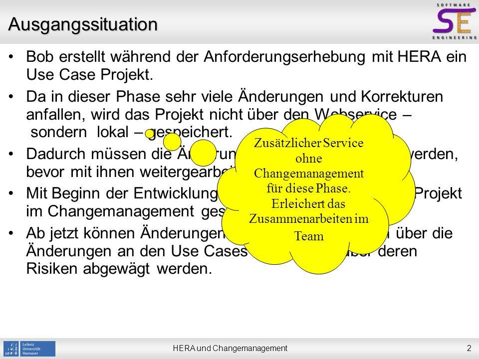 HERA und Changemanagement2 Ausgangssituation Bob erstellt während der Anforderungserhebung mit HERA ein Use Case Projekt.