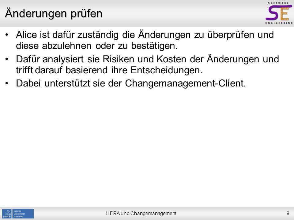 HERA und Changemanagement10 Änderungen prüfen Nachdem sich Alice beim Changemanagement-Client angemeldet und das betreffende Projekt ausgewählt hat, sieht sie eine Übersicht über alle Use Cases des Projekts.