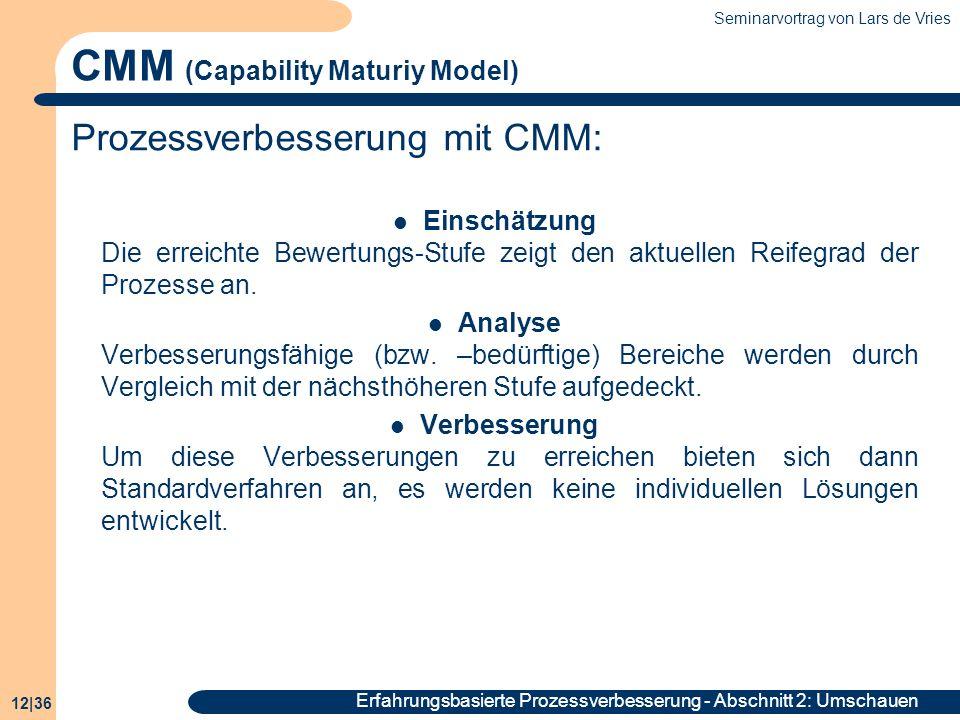 Seminarvortrag von Lars de Vries 12|36 Erfahrungsbasierte Prozessverbesserung - Abschnitt 2: Umschauen CMM (Capability Maturiy Model) Prozessverbesser