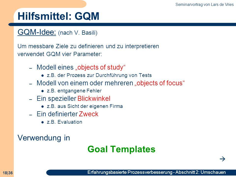 Seminarvortrag von Lars de Vries 18|36 Erfahrungsbasierte Prozessverbesserung - Abschnitt 2: Umschauen Hilfsmittel: GQM GQM-Idee: (nach V. Basili) Um