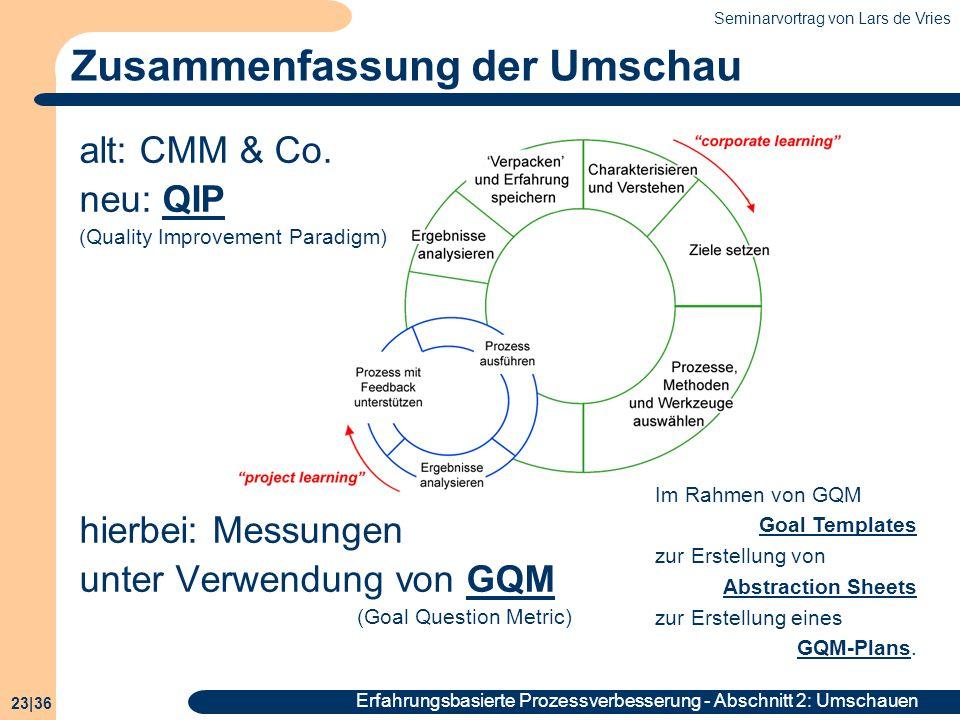 Seminarvortrag von Lars de Vries 23|36 Erfahrungsbasierte Prozessverbesserung - Abschnitt 2: Umschauen Zusammenfassung der Umschau alt: CMM & Co. neu: