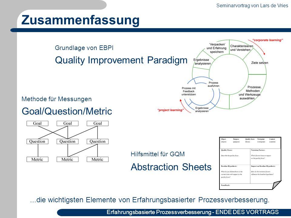 Seminarvortrag von Lars de Vries 37|36 Erfahrungsbasierte Prozessverbesserung - ENDE DES VORTRAGS Grundlage von EBPI Quality Improvement Paradigm Meth