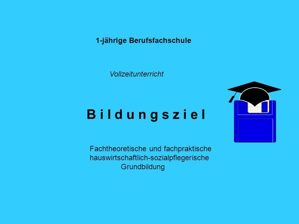 1-jährige Berufsfachschule B i l d u n g s z i e l Fachtheoretische und fachpraktische hauswirtschaftlich-sozialpflegerische Grundbildung Vollzeitunterricht