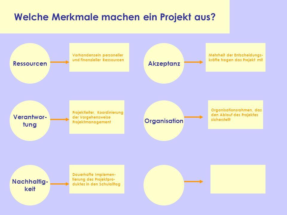 Welche Merkmale machen ein Projekt aus? Ressourcen Organisation Akzeptanz Verantwor- tung Nachhaltig- keit Vorhandensein personeller und finanzieller
