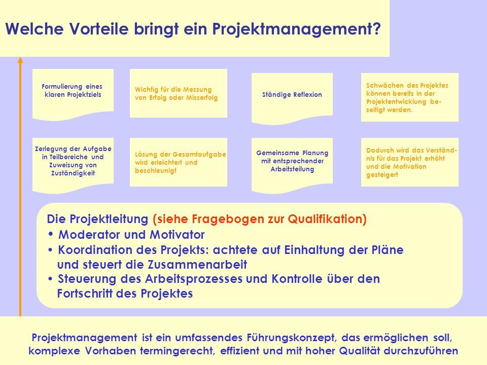 Welche Vorteile bringt ein Projektmanagement? Projektmanagement ist ein umfassendes Führungskonzept, das ermöglichen soll, komplexe Vorhaben terminger