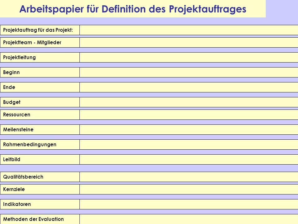 Arbeitspapier für Definition des Projektauftrages Projektauftrag für das Projekt: Projektteam - Mitglieder Projektleitung Beginn Ende Budget Meilenste