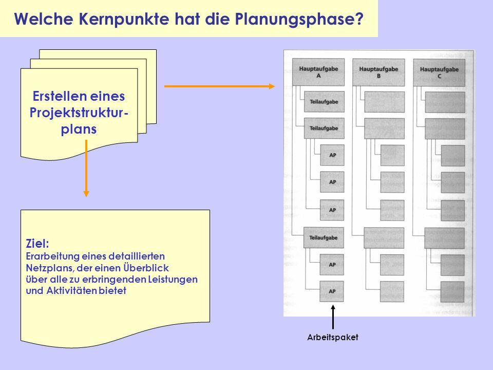 Erstellen eines Projektstruktur- plans Ziel: Erarbeitung eines detaillierten Netzplans, der einen Überblick über alle zu erbringenden Leistungen und A