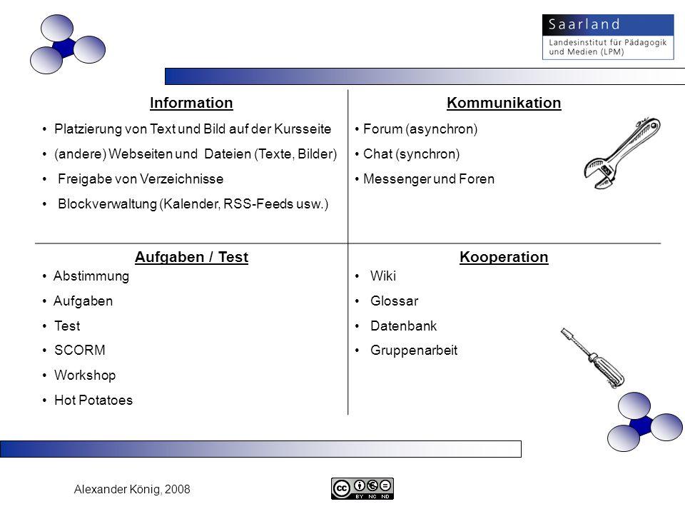 Alexander König, 2008 Information Platzierung von Text und Bild auf der Kursseite (andere) Webseiten und Dateien (Texte, Bilder) Freigabe von Verzeich