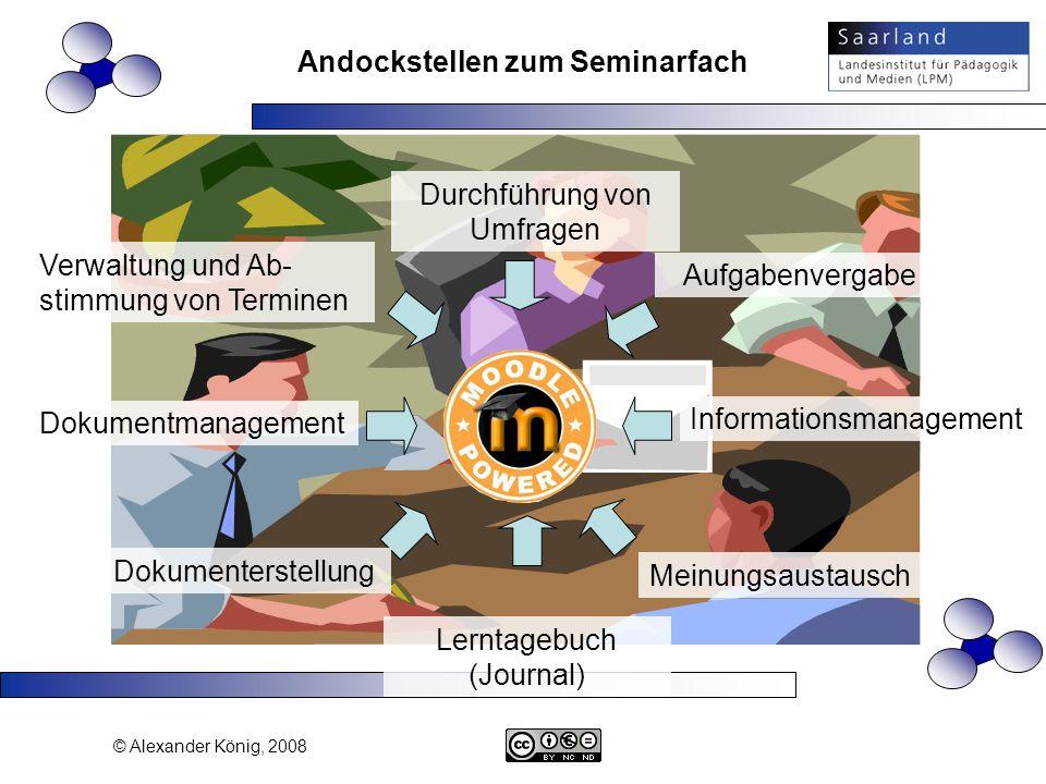 © Alexander König, 2008 Verwaltung und Ab- stimmung von Terminen Dokumentmanagement Durchführung von Umfragen Dokumenterstellung Meinungsaustausch Inf