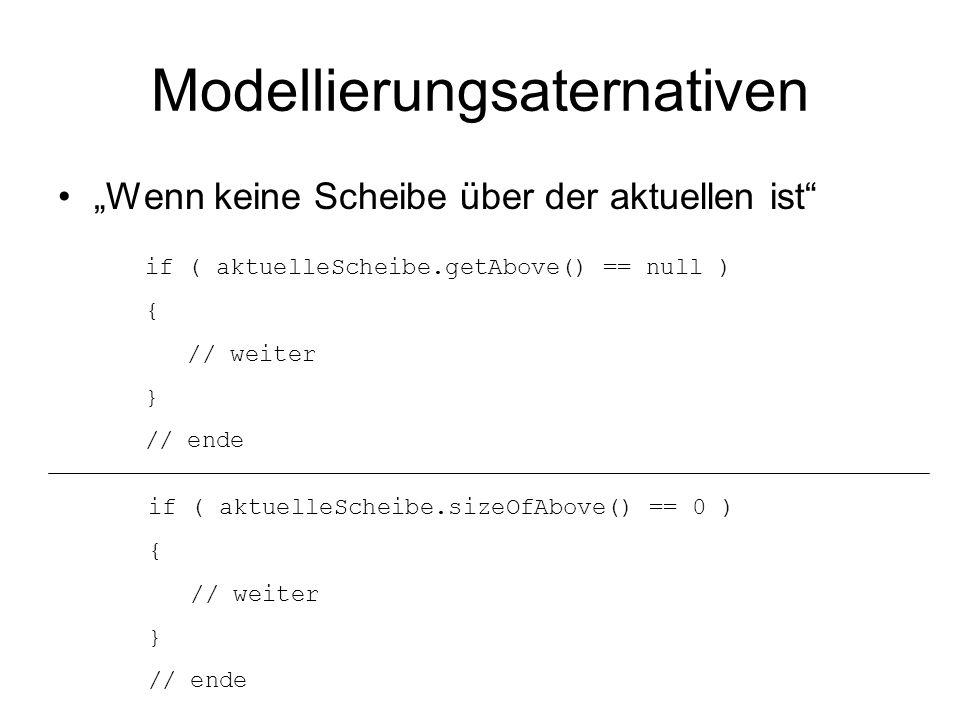Modellierungsaternativen Wenn keine Scheibe über der aktuellen ist if ( aktuelleScheibe.getAbove() == null ) { // weiter } // ende if ( aktuelleScheib