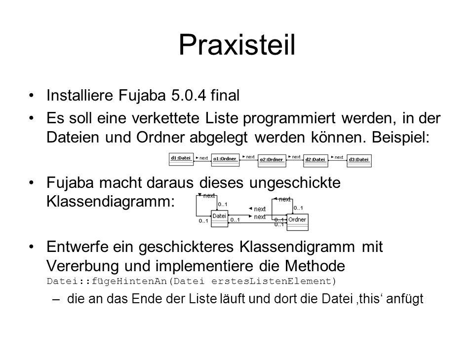 Praxisteil Installiere Fujaba 5.0.4 final Es soll eine verkettete Liste programmiert werden, in der Dateien und Ordner abgelegt werden können. Beispie