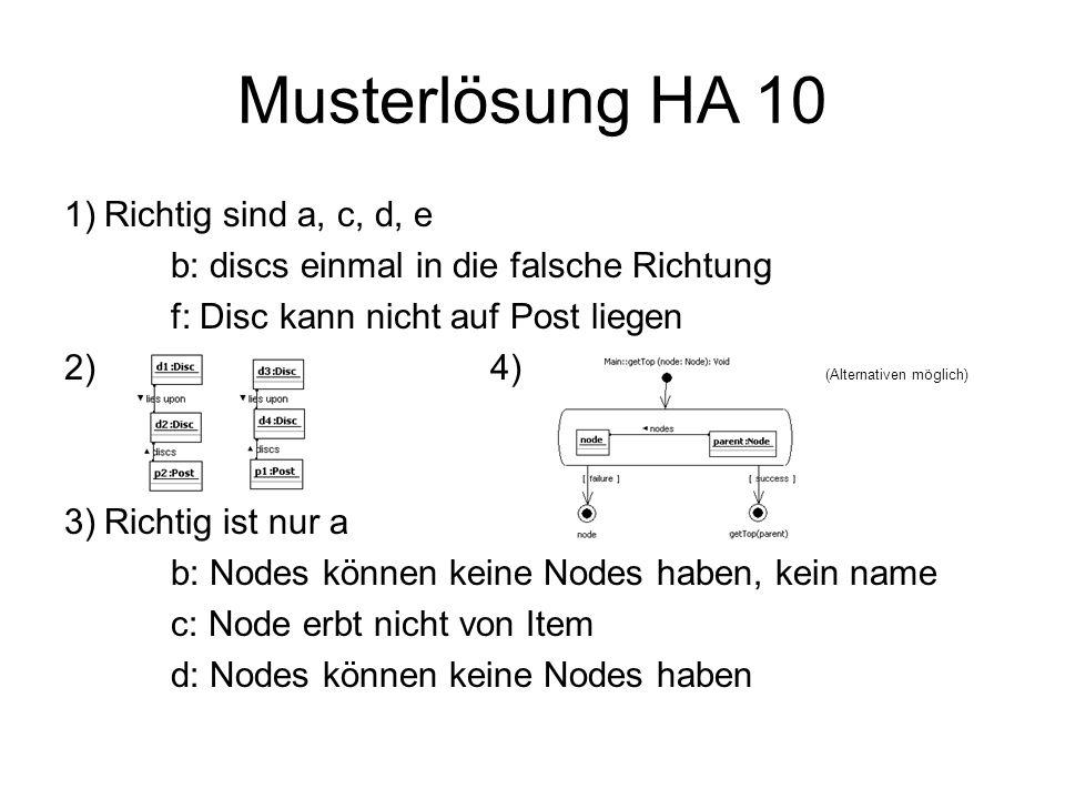 Musterlösung HA 10 1)Richtig sind a, c, d, e b: discs einmal in die falsche Richtung f: Disc kann nicht auf Post liegen 2) 4) (Alternativen möglich) 3