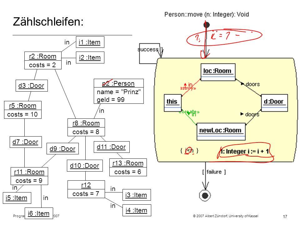 Programmiermethodik SS2007 © 2007 Albert Zündorf, University of Kassel 17 Zählschleifen: r2 :Room costs = 2 r5 :Room costs = 10 r11 :Room costs = 9 r8